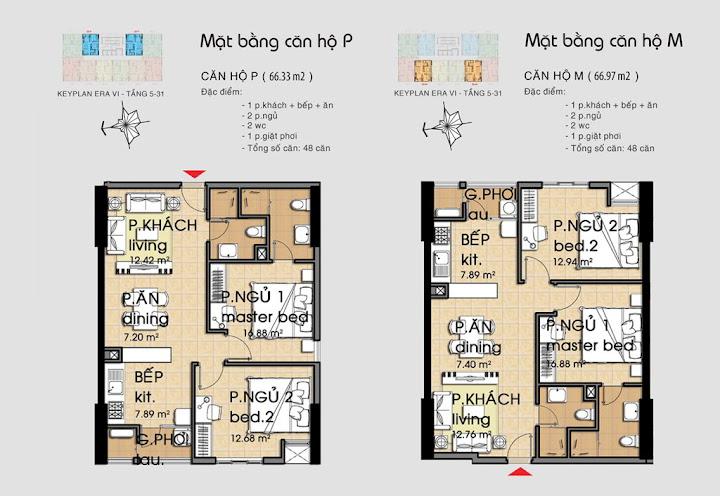 Mẫu P - M  căn hộ Kỷ Nguyên