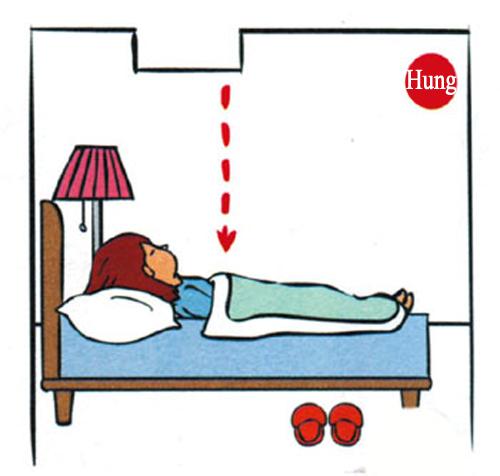 Thanh xà nhà phía trên giường ngủ