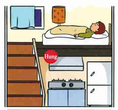 Giường ngủ nằm phía trên/bên dưới bếp nấu hoặc phòng tắm/nhà vệ sinh