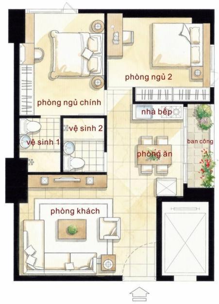 Mẫu căn hộ 2 phòng ngủ Hoàng Kim Thế Gia