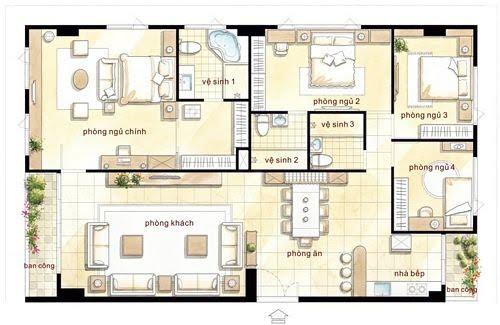 mẫu căn hộ 4 phòng ngủ Hoàng Kim Thế Gia