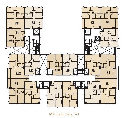Mặt bằng tầng 3-8 Căn hộ Hoàng Kim thế Gia
