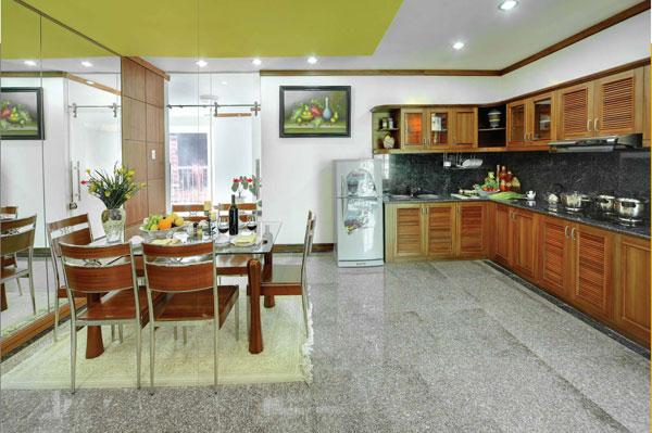 không gian bếp hẹp