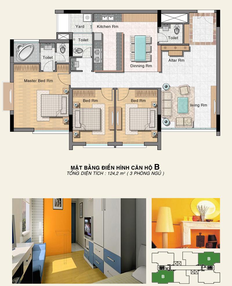 Mặt bằng tầng căn hộ B - Phú Hoàng Anh