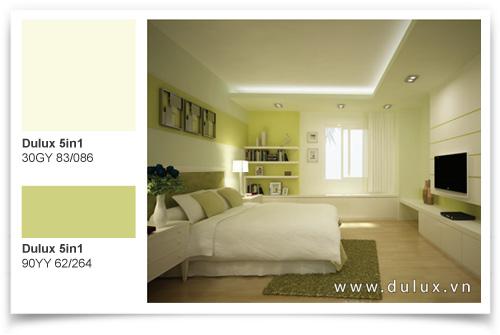 phòng ngủ màu sắc dịu dàng thư giản