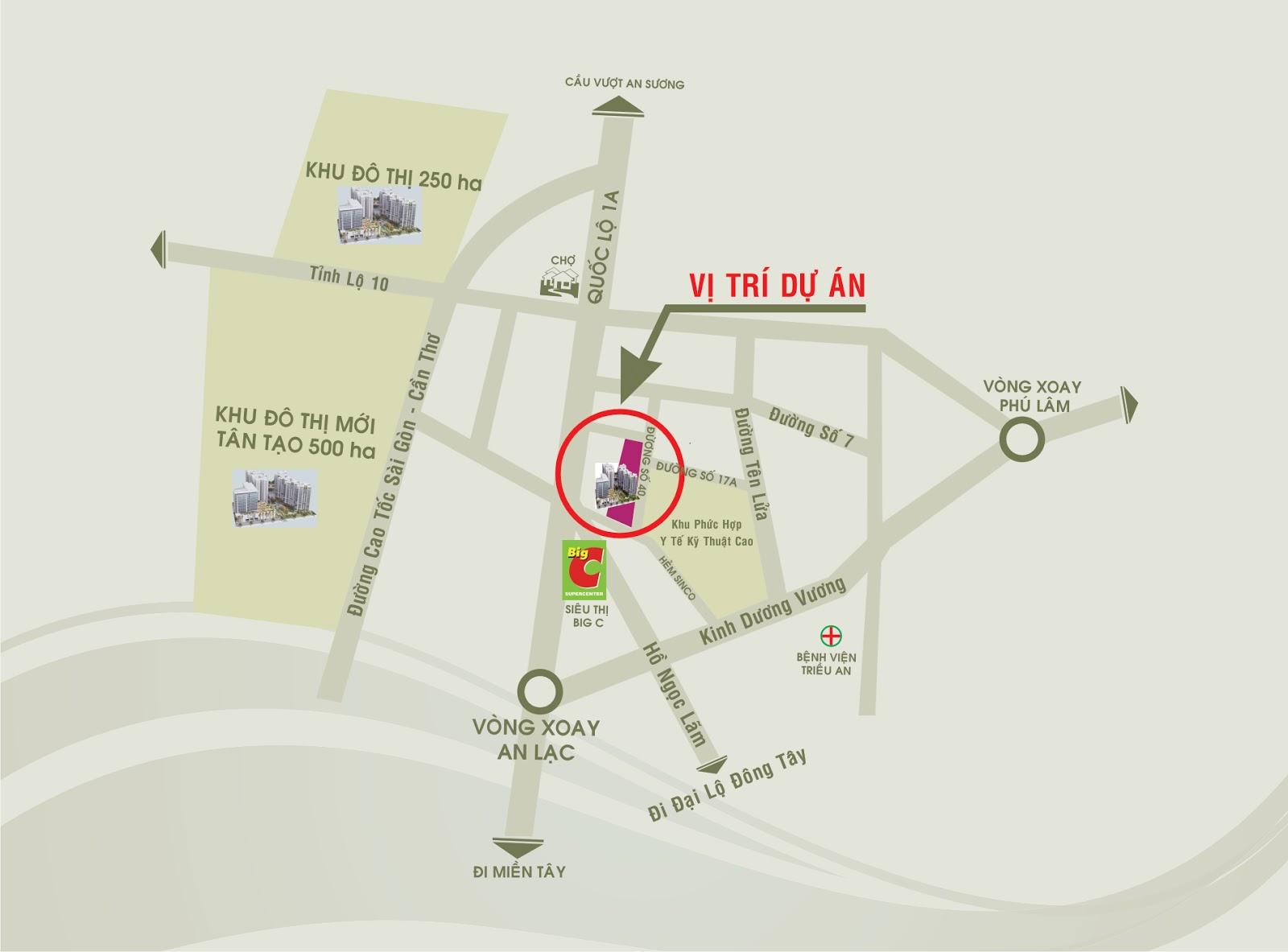 Sơ đồ vị trí Khu đô thị Tên Lửa